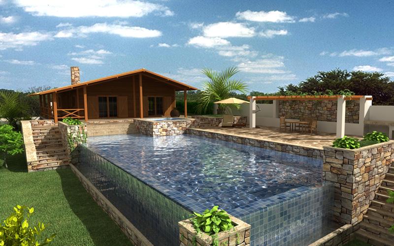 piscinas deck casas especiais de madeira piscinas spas. Black Bedroom Furniture Sets. Home Design Ideas
